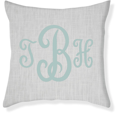 3-Letter Juliette Gray and Aqua Monogram Pillow Cover