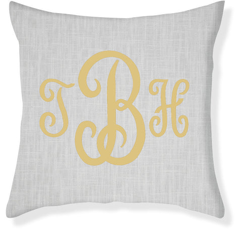3-Letter Juliette Gray and Gold Monogram Pillow Cover