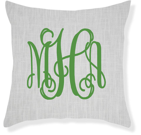 3-Letter Scroll Gray and Emerald Monogram Pillow Cover