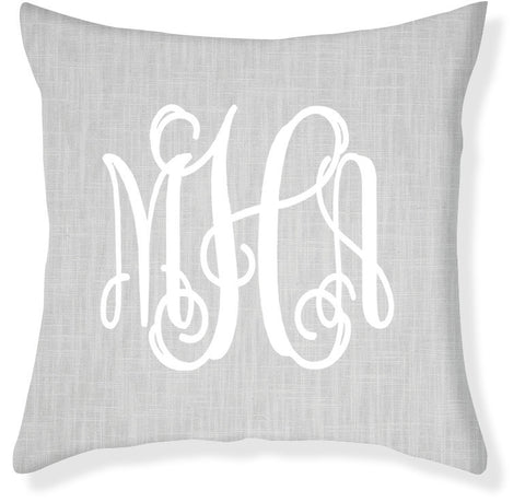 3-Letter Scroll Gray and White Monogram Pillow Cover