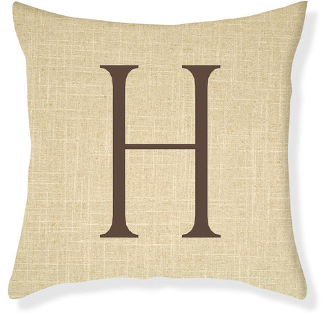 1-Letter Block Linen and Brown Monogram Pillow Cover