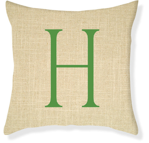 1-Letter Block Linen and Emerald Monogram Pillow Cover