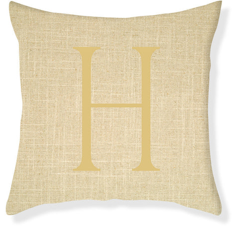 1-Letter Block Linen and Gold Monogram Pillow Cover
