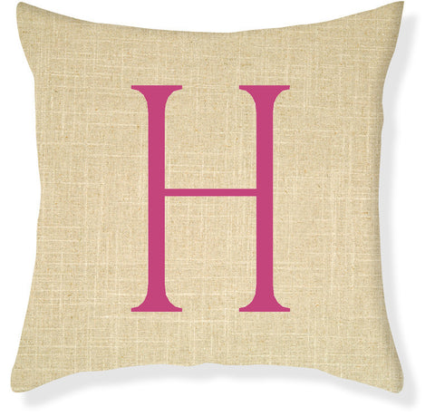 1-Letter Block Linen and Raspberry Monogram Pillow Cover