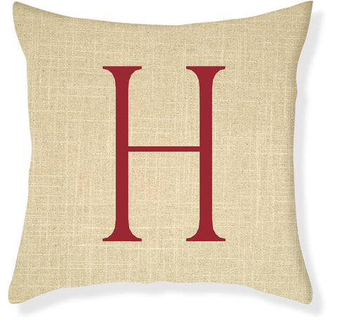 1-Letter Block Linen and Red Monogram Pillow Cover