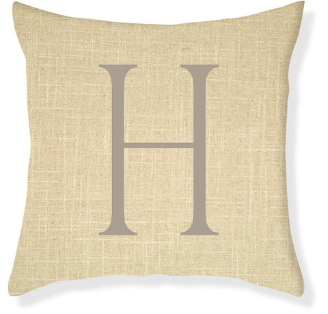 1-Letter Block Linen and Taupe Monogram Pillow Cover
