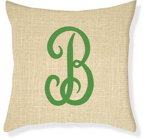 1-Letter Juliette Linen and Emerald Monogram Pillow Cover