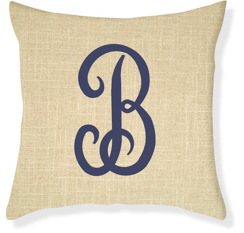 1-Letter Juliette Linen and Navy Monogram Pillow Cover