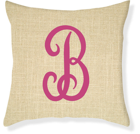 1-Letter Juliette Linen and Raspberry Monogram Pillow Cover