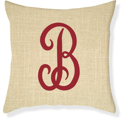 1-Letter Juliette Linen and Red Monogram Pillow Cover