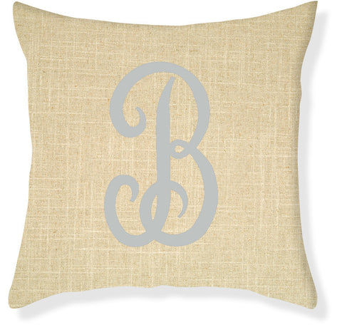 1-Letter Juliette Linen and Silver Monogram Pillow Cover