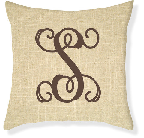 1-Letter Scroll Linen and Brown Monogram Pillow Cover