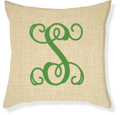 1-Letter Scroll Linen and Emerald Monogram Pillow Cover