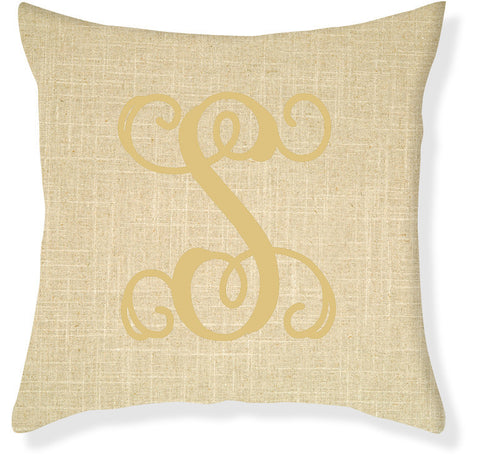1-Letter Scroll Linen and Gold Monogram Pillow Cover