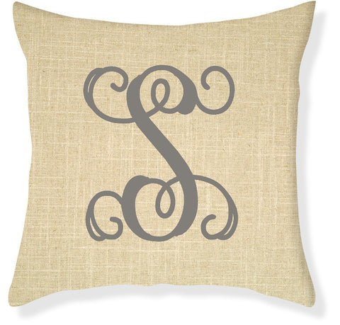 1-Letter Scroll Linen and Gray Monogram Pillow Cover