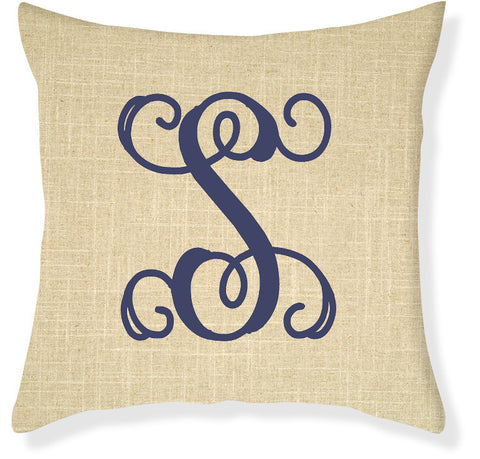 1-Letter Scroll Linen and Navy Monogram Pillow Cover
