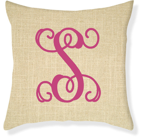 1-Letter Scroll Linen and Raspberry Monogram Pillow Cover