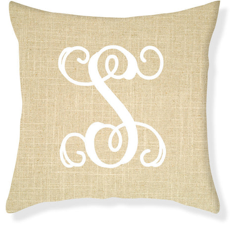 1-Letter Scroll Linen and White Monogram Pillow Cover