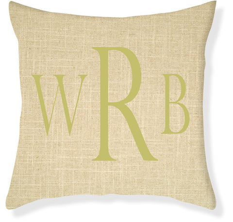 3-Letter Block Linen and Citron Monogram Pillow Cover