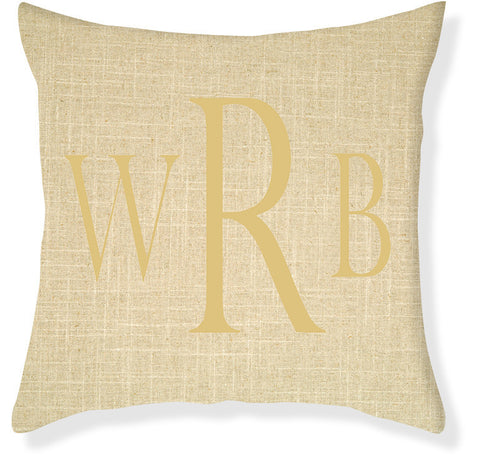 3-Letter Block Linen and Gold Monogram Pillow Cover