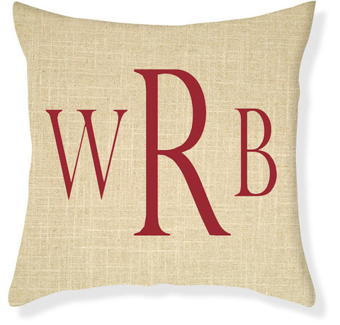 3-Letter Block Linen and Red Monogram Pillow Cover