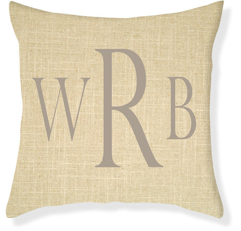 3-Letter Block Linen and Taupe Monogram Pillow Cover