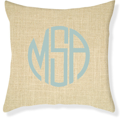 3-Letter Circle Linen and Aqua Monogram Pillow Cover