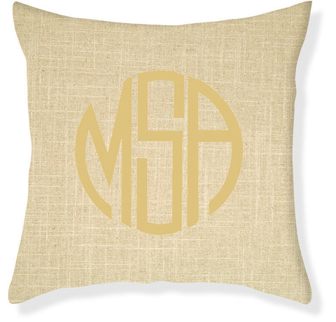 3-Letter Circle Linen and Gold Monogram Pillow Cover