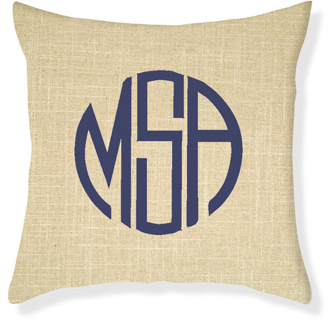 3-Letter Circle Linen and Navy Monogram Pillow Cover