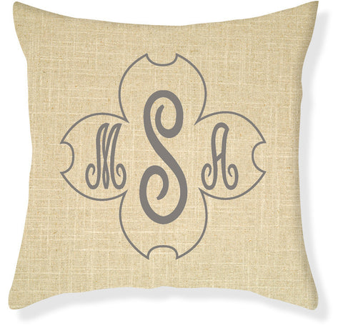 Signature Dogwood Linen and Gray Monogram Pillow Cover