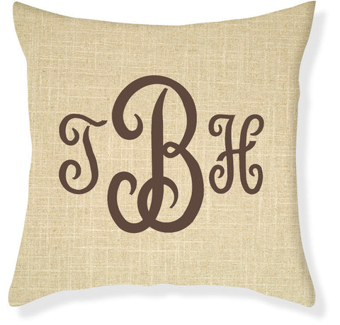 3-Letter Juliette Linen and Brown Monogram Pillow Cover