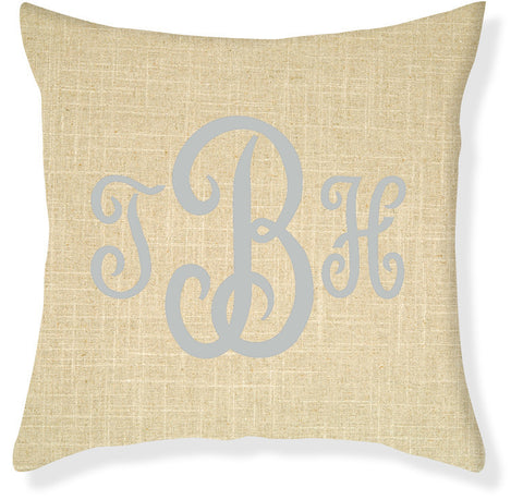 3-Letter Juliette Linen and Silver Monogram Pillow Cover