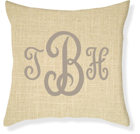 3-Letter Juliette Linen and Taupe Monogram Pillow Cover