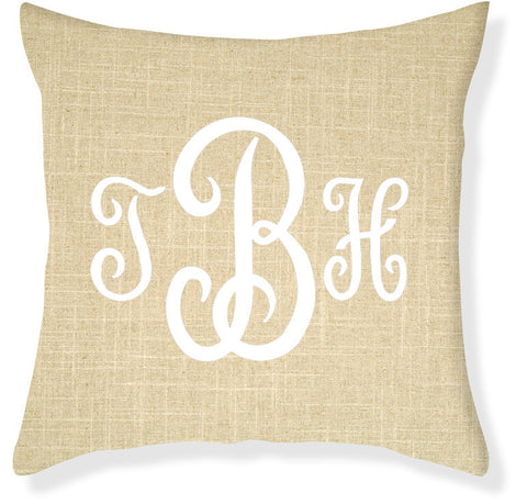 3-Letter Juliette Linen and White Monogram Pillow Cover