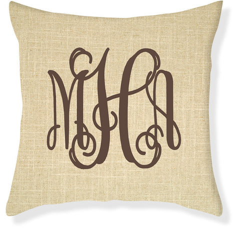 3-Letter Scroll Linen and Brown Monogram Pillow Cover
