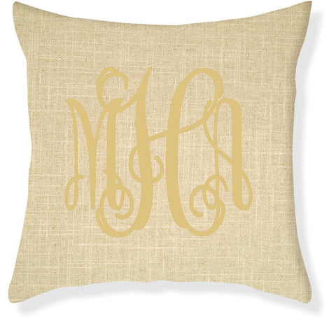 3-Letter Scroll Linen and Gold Monogram Pillow Cover