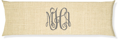 3-Letter Scroll Linen and Gray Monogram Pillow Cover