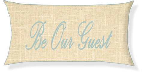 """Be Our Guest"" Linen and Aqua Pillow Cover"