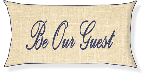 """Be Our Guest"" Linen and Navy Pillow Cover"