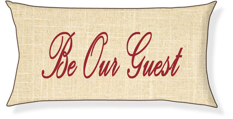 """Be Our Guest"" Linen and Red Pillow Cover"