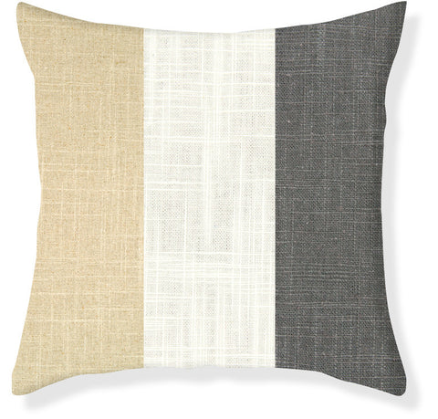 Charcoal and Linen Colorblock Pillow Cover