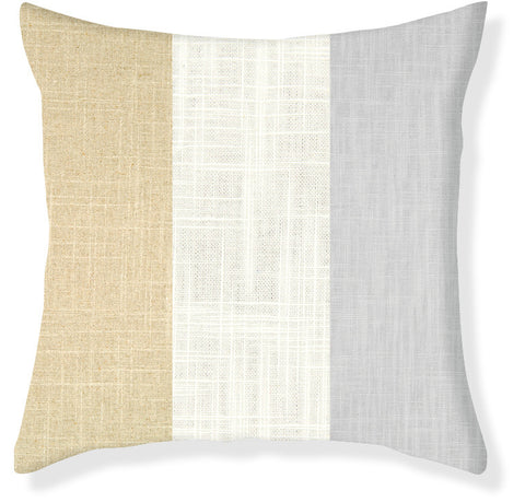 Gray and Linen Colorblock Pillow Cover