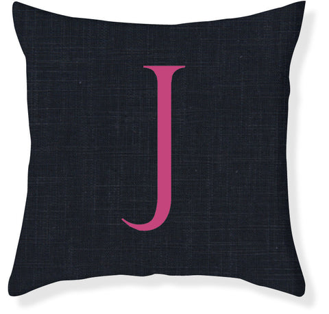 1-Letter Block Navy and Raspberry Monogram Pillow Cover