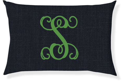 1-Letter Scroll Navy and Emerald Monogram Pillow Cover