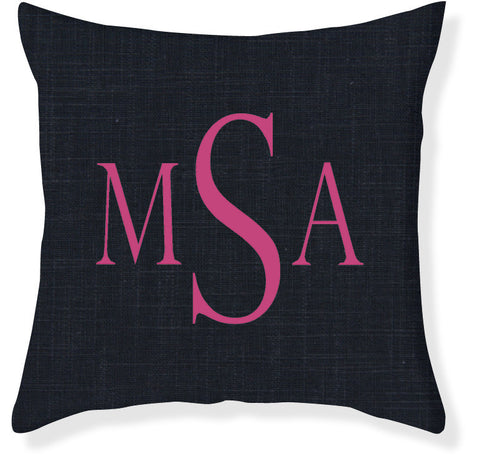 3-Letter Block Navy and Raspberry Monogram Pillow Cover