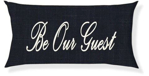 """Be Our Guest"" Navy and Cream Pillow Cover"