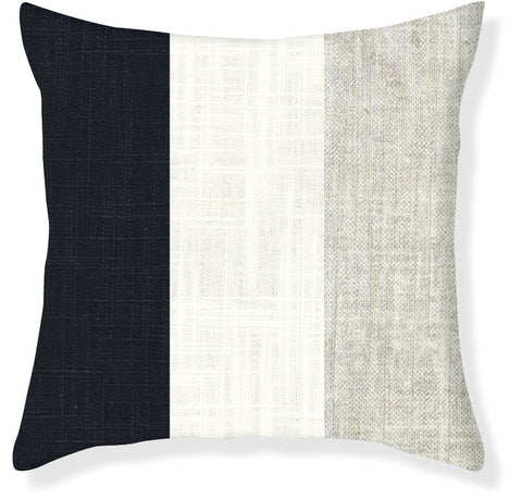 Navy and Silver Colorblock Pillow Cover