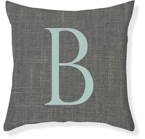 1-Letter Block Charcoal and Aqua Monogram Pillow Cover