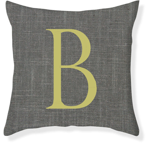 1-Letter Block Charcoal and Citron Monogram Pillow Cover