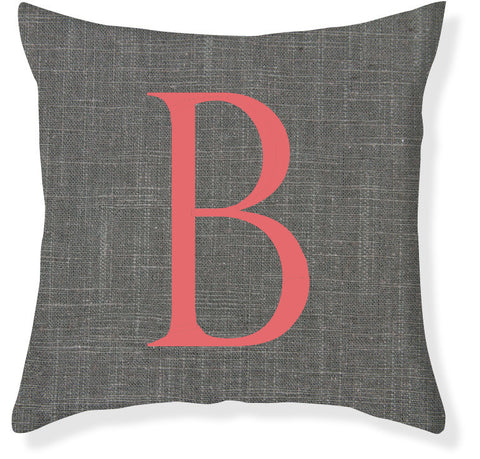 1-Letter Block Charcoal and Coral Monogram Pillow Cover